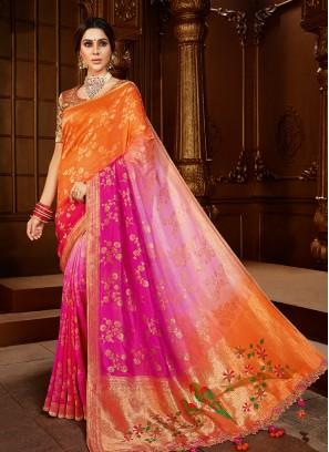 Orange And Pink Color Dola Silk Fancy Saree
