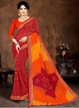 Orange And Red Color Bandhani Saree