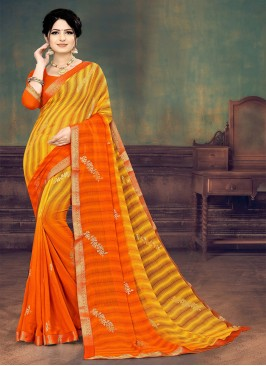 Orange And Yellow Color Saree For Women