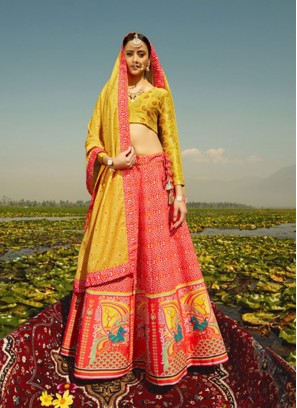 Orange And Yellow Printed Lehenga Choli