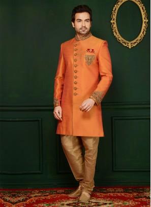 Orange Art Banarasi Silk Engagement Wear Alluring Indo Western