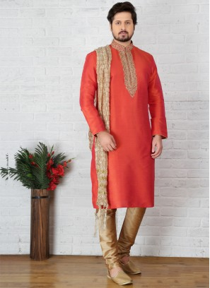 Orange Art Banarasi Silk Kurta Pajama