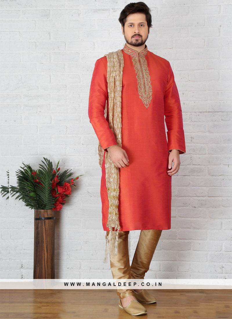 Orange Art Banarasi Silk Kurta Pajama