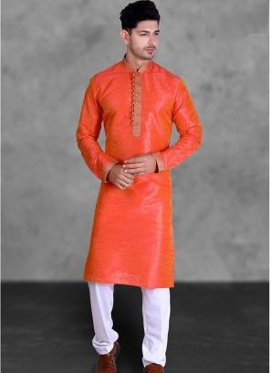 Orange Color Art Silk Kurta Pajama
