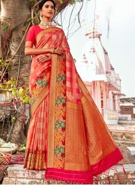 Orange Color Banarasi Silk Classic Saree