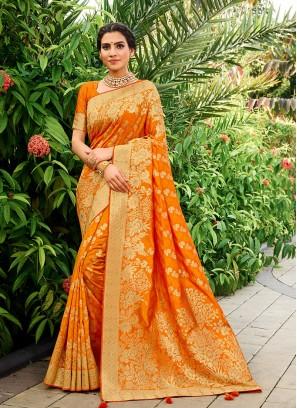 Orange Color Banarasi Silk Latest Saree