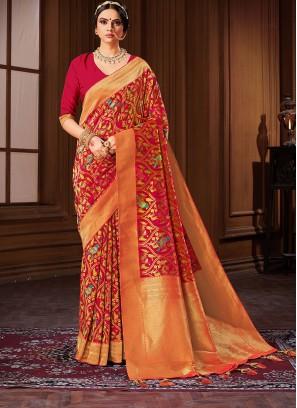 Orange Color Banarasi Silk Saree For Ladies