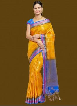 Orange Color Banarsi Silk Fancy Saree