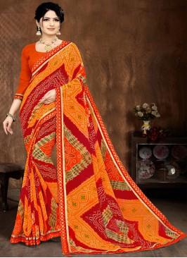 Orange Color Bandhani Printed Saree