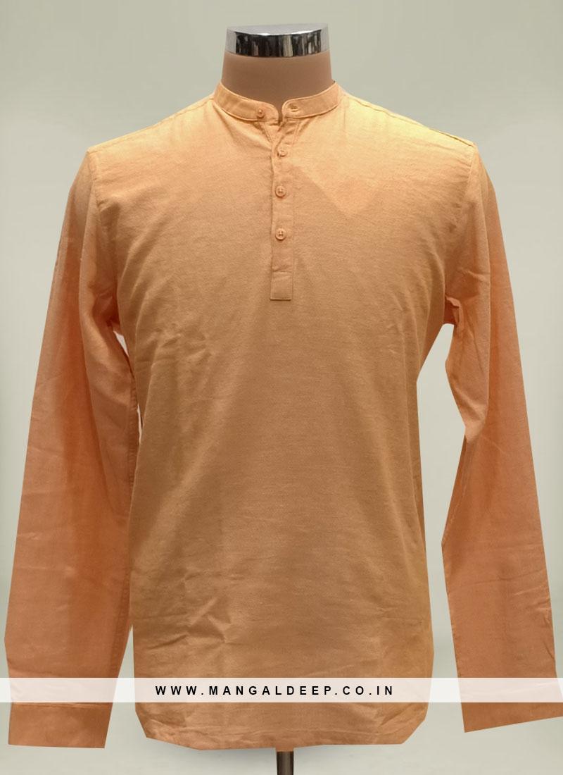 Orange Color Cotton Casual Kurta