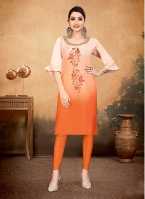 Orange Color Cotton Office Wear Kurti