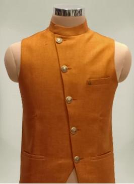Orange Color Cotton Silk Fancy Mens Wear Koti
