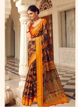 Orange Color Digital Print Patola Saree