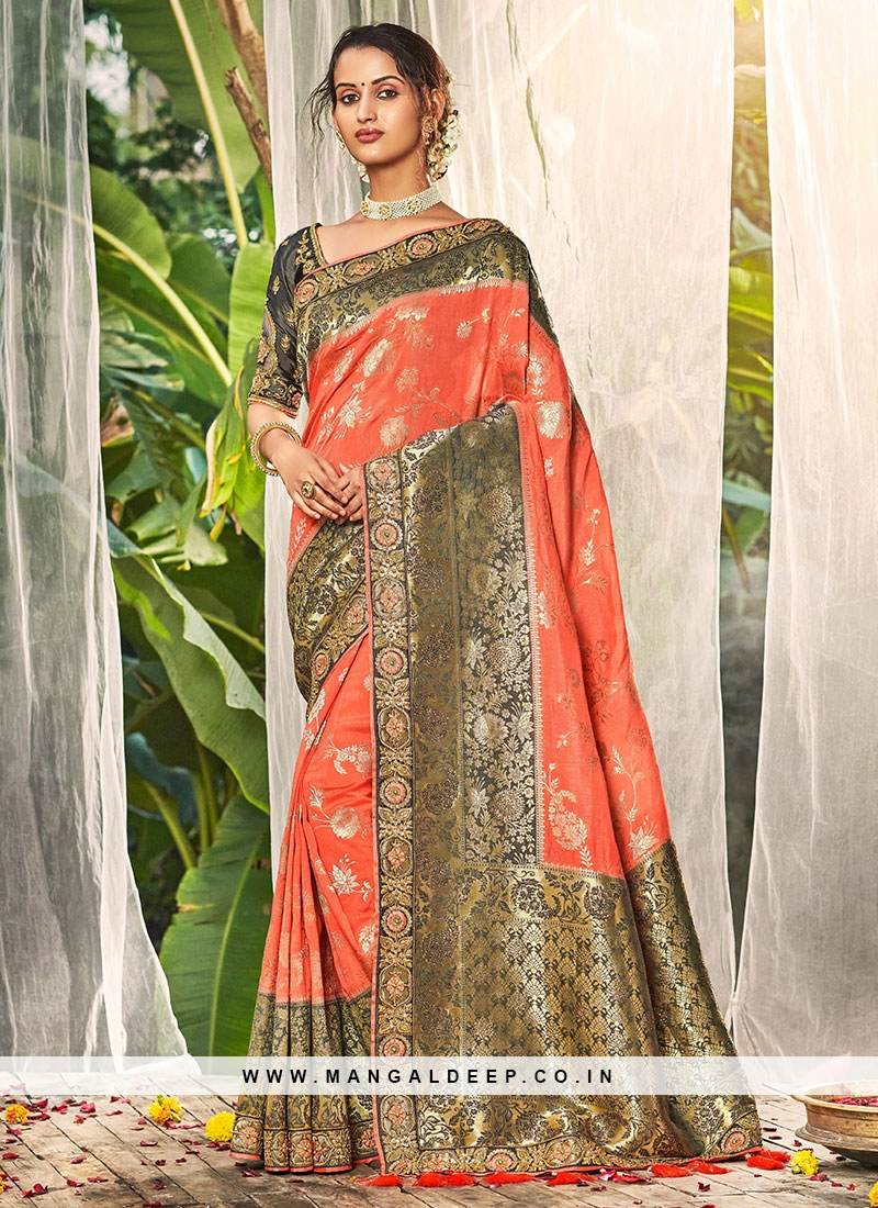 Orange Color Dola Silk New Design Saree