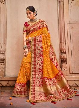Orange Color Dolla Silk Saree