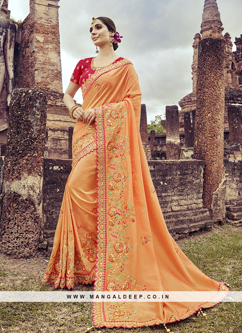 Orange Color Embroidered Latest Saree
