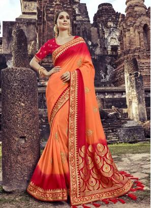 Orange Color Embroidered Silk Saree