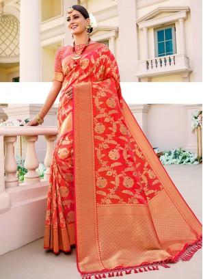 Orange Color Fancy Saree In Silk