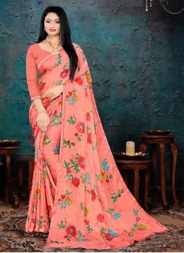 Orange Color Floral Printed Saree