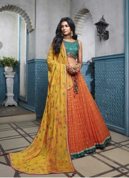 Orange Color Georgette Lehenga For Girl