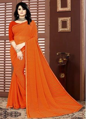 Orange Color Georgette Leheriya Saree