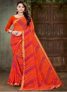 Orange Color Georgette Printed Saree