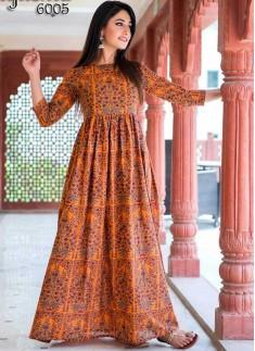 Orange Color Gown For Ladies