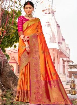 Orange Color Latest Design Saree