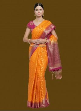 Orange Color Latest Design Silk Saree