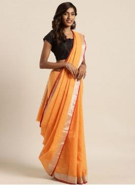 Orange Color Linen Silk New Design saree