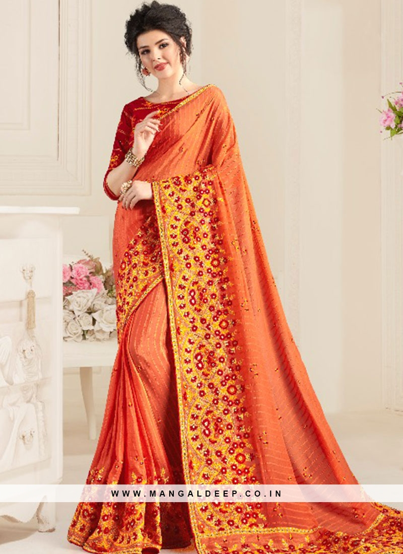Orange Color Natural Fabric Fancy Saree