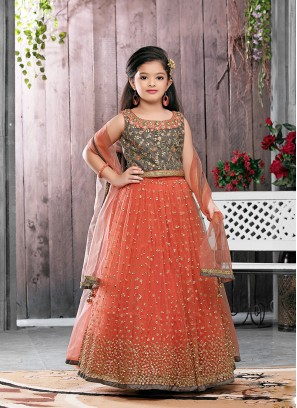 Orange Color Net Sequins Work Baby Girl Lehenga