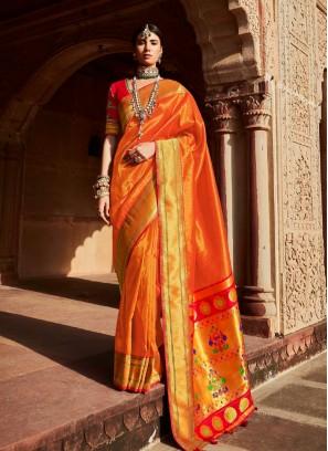 Orange Color New Design Silk Saree