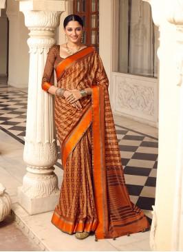 Orange Color Patola Saree In Print