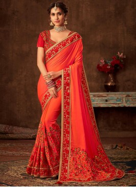Orange Color Poly Silk Saree With Unstitched Blouse