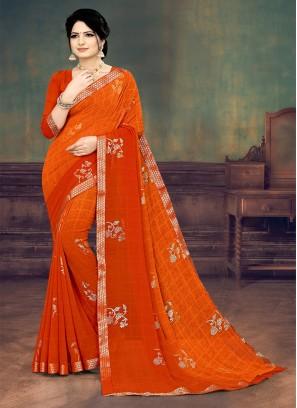 Orange Color Printed Georgette Saree For Ladies