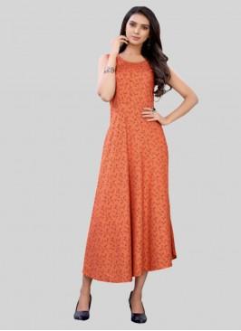 Orange Color Rayon Daily Wear Kurti