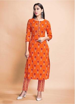 Orange Color Rayon Kurti With Pant