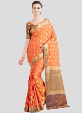 Orange Color Saree In Banarasi Silk
