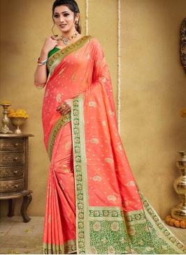 Orange Color Silk Classic Saree