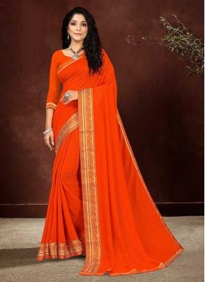 Orange Color Silk Daily Wear Saree