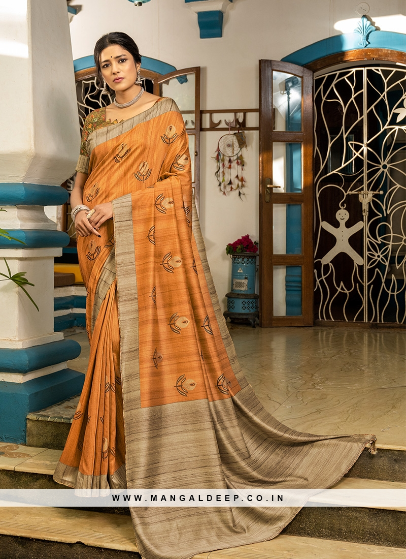 Orange Color Silk Fanciful Saree