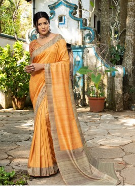 Orange Color Silk Gorgeous Saree