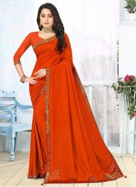 Orange Color Silk Lace Border Saree