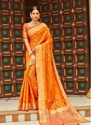 Orange Color Silk Latest Saree