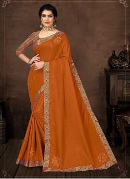 Orange Color Silk New Design Saree