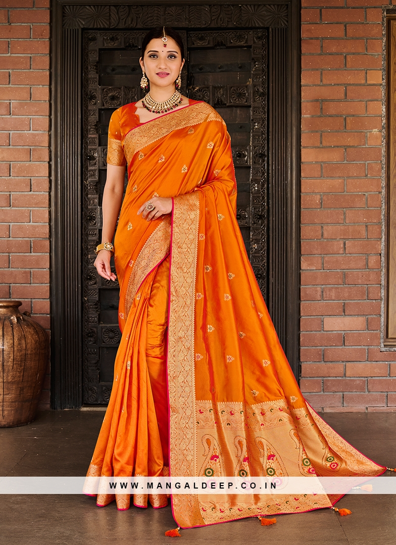 Orange Color Silk New Saree