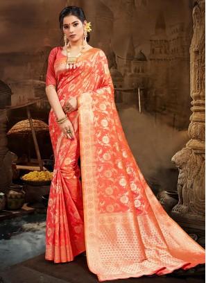Orange Color Silk Party Wear Saree