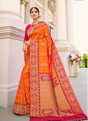 Orange Color Silk Saree In Surat