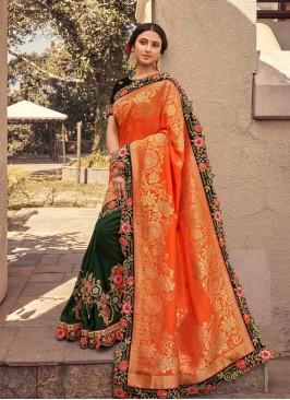 Orange Color Silk Saree With Blouse